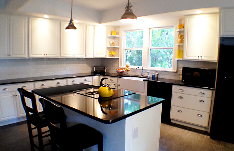 Photo of renovated kitchen.