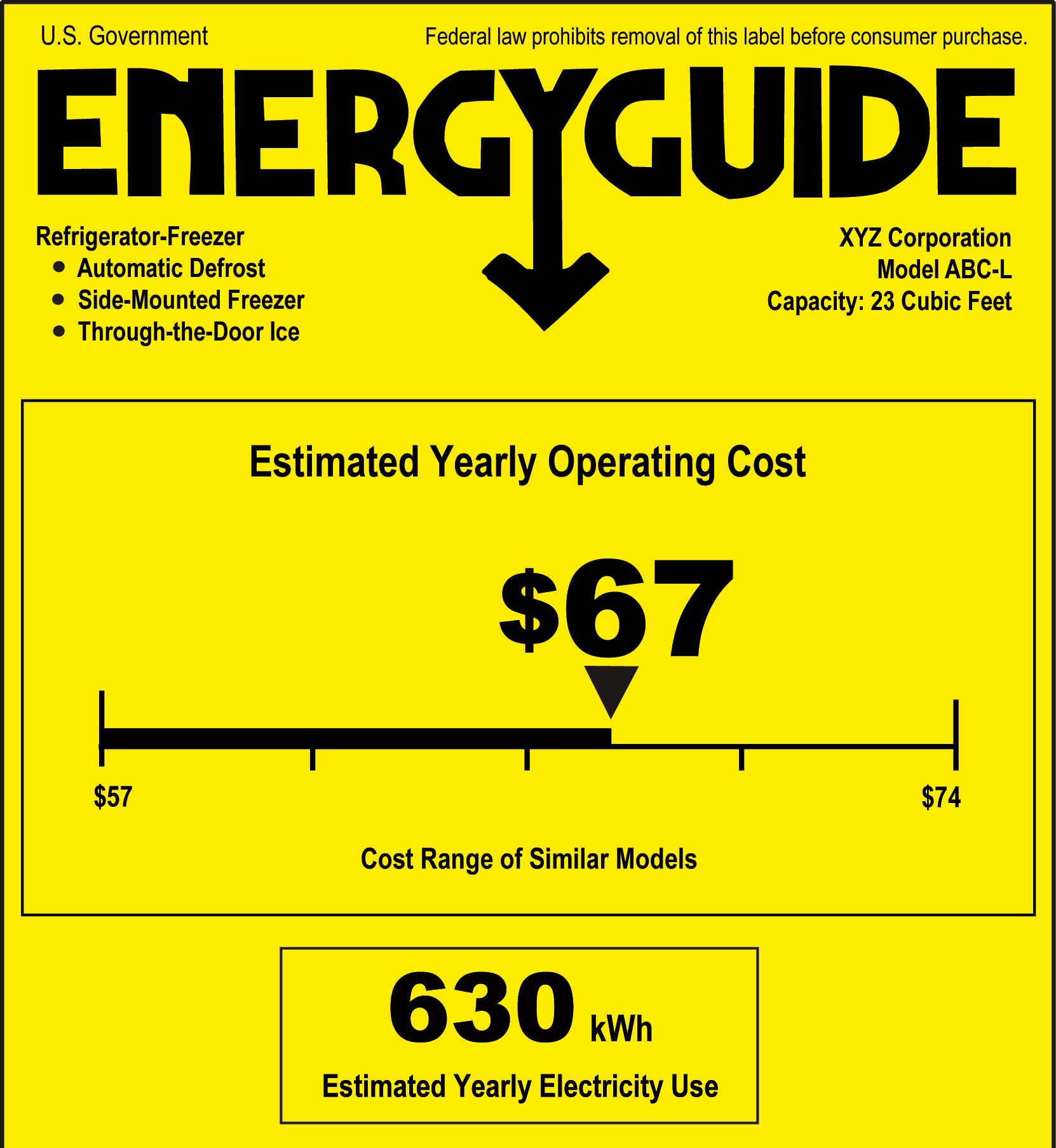Yellow EnergyGuide label.