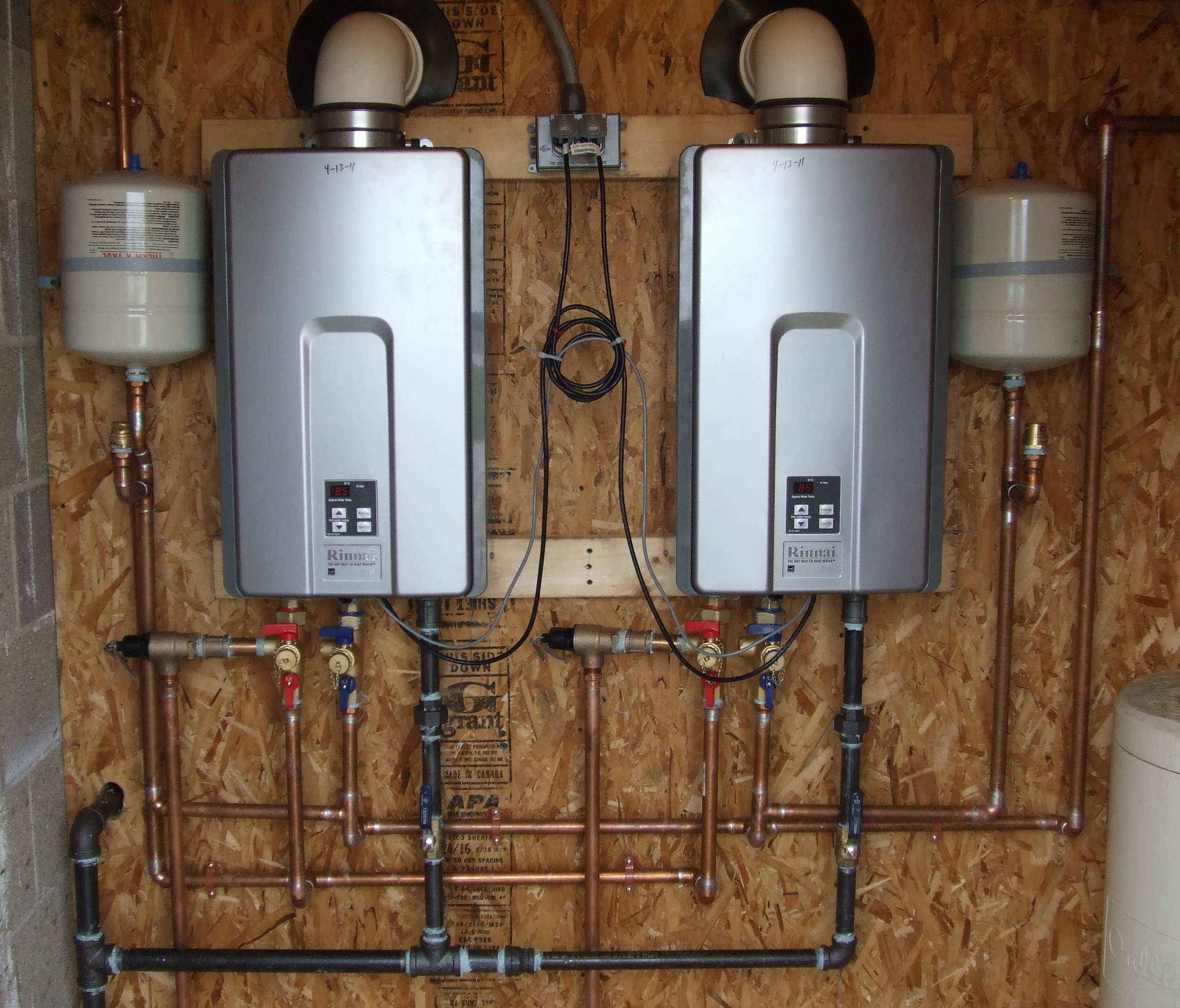 Photo of dual water heater installation.