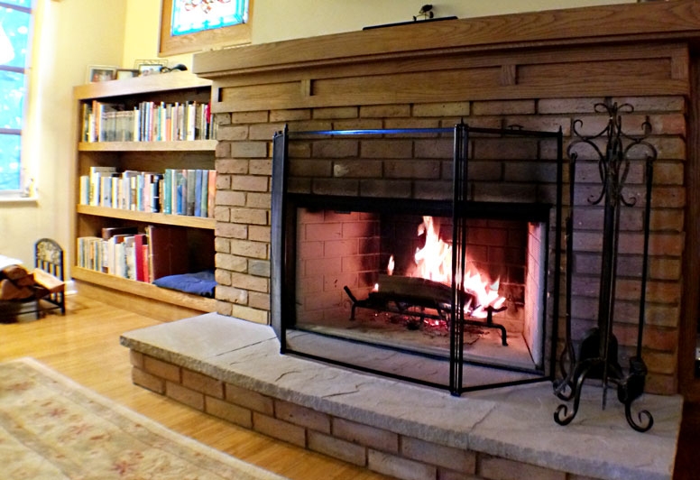 Photo of renovated fireplace.